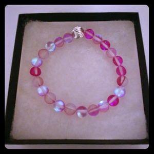 Bright Pink Moonstone Bracelet